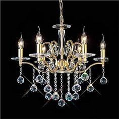6-flammiger-Kristall-Kronleuchter Gold Kerzenform