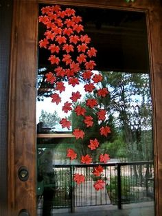 falling leaves on front door........  different idea!