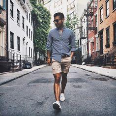 Men's Street Style - Bellfield striped/bronson shorts
