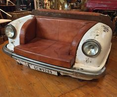 Upcycled Front End Classic Car Leather Sofa, free delivery, coco54