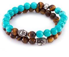 März The Turquoise Buddha Beaded Bracelet Set - Set of 2