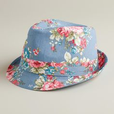a396608c89c23 Add a bright note to your ensemble with our stylish Blue Floral Fedora Hat.