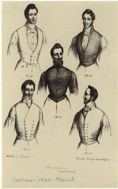 [Men in various types of vests, France, 1834.] Men -- Clothing & dress -- France -- 1830-1839