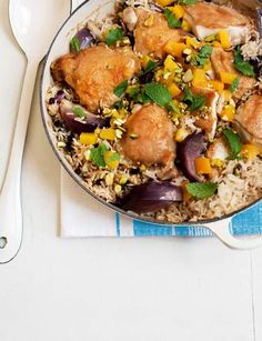 One-pot Moroccan chicken. This gluten and dairy-free recipe is a wholesome and nutritious meal for One Pot Dishes, Rice Dishes, One Pot Meals, Family Vegetarian Meals, Family Meals, Sainsburys Recipes, Moroccan Chicken, Carnivore, Cooking Recipes