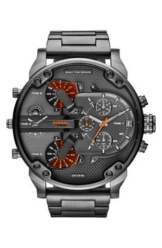 Free shipping and returns on DIESEL® 'Mr. Daddy 2.0' Chronograph Bracelet Watch, 57mm at Nordstrom.com. A gigantic, statement-making watch boasts analog time for four time zones in a rugged, military-inspired design.