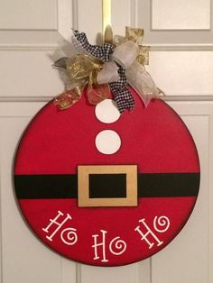 Items similar to Santa Suit Door Hanger.Hand Painted Wood Design on Etsy : Santa Suit Door Hanger.Hand Painted Wood Design by SuzCraftz Christmas Wood Crafts, Christmas Signs, Christmas Art, Christmas Projects, Holiday Crafts, Christmas Holidays, Christmas Wreaths, Christmas Ornaments, Christmas Door Hangers