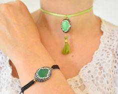 Green hand choker hamsa pendant beads necklace by sultansjewellery Green hand choker, hamsa pendant beads necklace, choker, macrame bracelet, luck charm jewelry, short necklace, neckline jewellery, turkish jewelry, kaballah,    PRODUCT INFO: Product:  Green Red color sliced natural stone #pendant, #tassel necklace  Material: #Green #hamsa #hand shaped #gemstone pendant, brass extended chain, 18k #yellow #gold #coated,