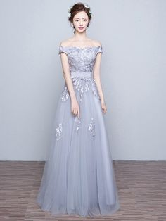 A-line Gray Tulle Appliques Lace Discounted Off-the-shoulder Prom Dresses