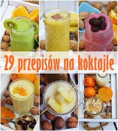 28 przepisów na koktajle, koktajle owocowe, koktajle warzywne, koktajl z owoców, koktajl na jogurcie, koktajl truskawkowy Juice Smoothie, Fruit Smoothies, Loose Weight Food, Raw Food Recipes, Healthy Recipes, Healthy Food, Healthy Juices, Weight Loss Smoothies, Nutribullet