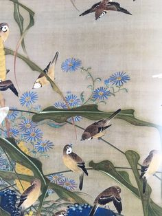 """Detail. Sparrows and Millet. 伊藤若冲 ITO Jakuchu (1716-1800, Japanese). One of 30 scrolls of the set: """"Colorful Realm of Living Beings."""""""
