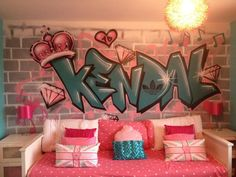 client private children / teen / Kids Bedroom Graffiti mural - hand painted Kendal pink diamond girls graffiti bedroom design #graffitibedroom #interior design