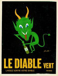 Absinthe Devil by John Coulter Vintage Advertisements, Vintage Ads, Vintage Posters, Pop Art, Absinthe, Kitchen Artwork, Advertising Poster, Art Challenge, Art Design
