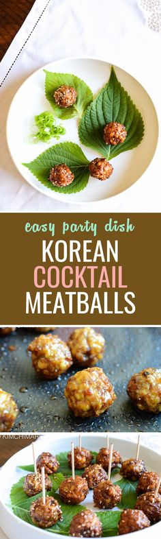 The most common cocktail meatballs are usually soft and smothered in sweet sauce and I love these too but sometimes you want something different. Now, these meatballs are fried and not oven baked or slow cooked. It is light and almost fluffy(?) in the inside with bits of kimchi bursting with flavor and then has a bit of a chewy and crusty outside.