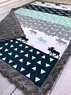 Moose Baby Blanket Designer Moose minky Charcoal by CorkysQuilts