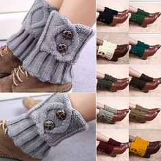 Lady Fashion Crochet Knitted Button Down Boot Cuffs Toppers Leg Warmers Socks As