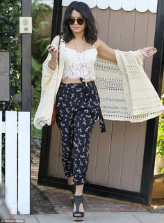 lace crop top with a long thin sweater, bold floral pant, would be better with a pop of bold color