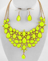 Living the Highlight Neon Yellow Bib Statement Necklace-$64-Find hot fashion jewellery and statement jewlry at Strike Envy. #jewellery #jewlry