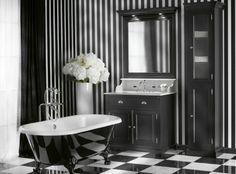 Modernas casas de banho a preto e branco