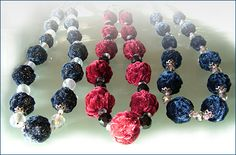 handmade decorations: from textile, beads, plastic, glass, stones