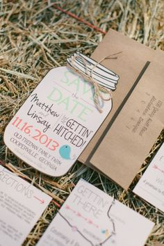 Rustic country charm: http://www.stylemepretty.com/2015/04/13/20-chic-save-the-dates/
