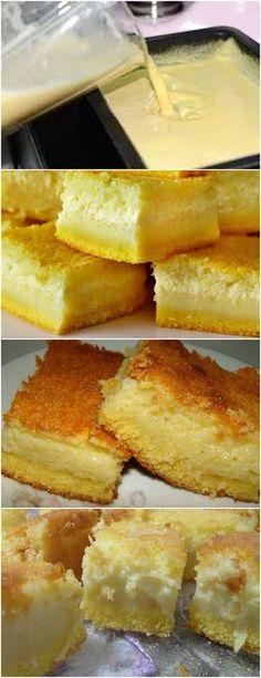 BOLO DE FUBÁ CREMOSO É SEMPRE BEM VINDO EM NOSSO CAFÉ DA TARDE!! VEJA AQUI>>>Unte e enfarinhe uma assadeira grande (40x28cm). Reserve. Bata no liquidificador os ovos, o leite, o açúcar e a margarina até obter uma mistura homogênea #receita#bolo#torta#doce#sobremesa#aniversario#pudim#mousse#pave#Cheesecake#chocolate#confeitaria