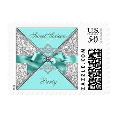 Teal Blue Diamond Bow Sweet 16 Postage