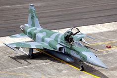 A Brazilian Air Force F-5 Tiger sits on the ramp ready to go.