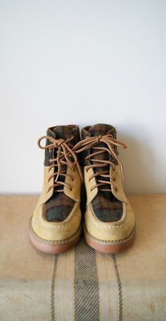 Vintage Boots. 90s Boots. Hiking Boots. Leather and Plaid Wool Esprit Boots. Women's Size 6.5.