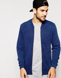 a551fabb7b7 ASOS Bomber Jacket In Jersey With Acid Wash at asos.com