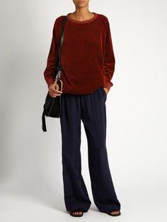 Round-neck velvet sweatshirt