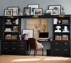 Build Your Own - Reynolds Modular Cabinets | Pottery Barn. Love the black, gold and grey