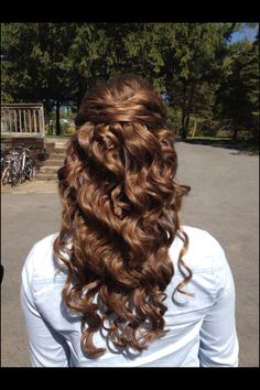 Curly half up half down prom hair