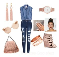 """""""The Rose-Gold Effect..."""" by hangerson on Polyvore featuring Oscar de la Renta, Madewell, 2LUV, Sergio Rossi, STELLA McCARTNEY, Larsson & Jennings and Linda Farrow"""