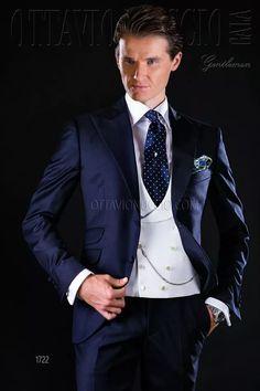 ONGala 1722 - Traje de novio azul en pura lana solapa pico
