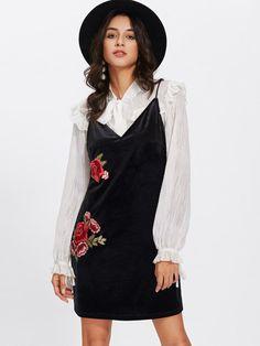 Embroidered Rose Patch Velvet Cami Dress #camidress