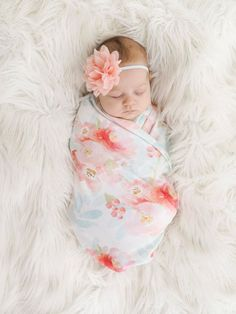 Organic cotton swaddle blanket in Indy Bloom Pink and Blush Floral - Pink, Blush and Coral Flowers on Mint Leaves