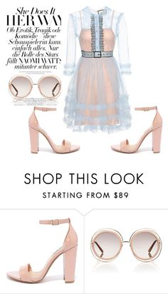 """""""Hey luv"""" by apess ❤ liked on Polyvore featuring Steve Madden, Chloé, Gucci and ruffles"""