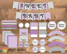 INSTANT DOWNLOAD  Chevron Baby Shower  Purple and by PixperStudio, $15.00 Cute Baby Shower Ideas, Baby Shower Games, Baby Shower Parties, Baby Boy Shower, Baby Shower Chevron, Baby Shower Yellow, Jordan Baby Shower, 2nd Baby Showers, Elephant Party