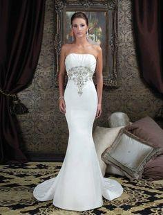 wedding dresses wedding dresses mermaid wedding dresses jewel neckline 2014 style trumpet/mermaid strapless sweep/brush train sleeveless satin wedding dress for brides