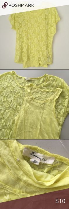 Yellow Floral Lace Sheer Blouse Tank Top 2 pc Set! CLOSET CLEARANCE SALE! CHECK IT OUT @ shop.cupcaaaek ON Ⓜ️ERC! // Brand new // Never worn // Freshly washed once // NO flaws // Brand: Forever 21 // Size: Small, could also fit an XS // 2 piece top set, including one thin sheer liner tank top & one thin sheer floral lace overlay blouse. SO STUNNING. The prettiest shade of yellow I've ever seen! ❤️ // OLDER STYLE, NO LONGER IN PRODUCTION! SOLD OUT IN STORES & ONLINE! // NO holds, returns or…