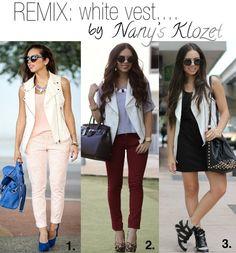 Pink pants, nude tank, cream leather vest. Maroon jeans, gray tee, cream leather vest. Black dress, cream leather vest.