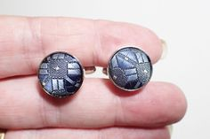 Blue Silk Thread Geometric Design Silver Tone Cufflinks