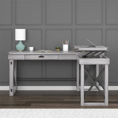 Create a rustic feel to your home office with the Ameriwood Home Wildwood L-Shaped Lift Top Desk. The L-shape of the desk keeps your computer and all of your paperwork within arms reach while giving you multiple options for arranging your space. White L Shaped Desk, Small L Shaped Desk, Space Saving Desk, L Desk, Rustic Computer Desk, Computer Desks, Sit To Stand, Grey Room, Gladstone