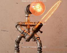 Sable a mano diseñador Edison estilo Vintage Steampunk Retro Industrial tubo lámpara de mesa
