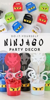 DIY Ninjago Party Decor (Henry's Birthday Party – Bernadette Wessels DIY Ninjago Party Decor (Henry's Birthday Party With just a few cut files and a Cricut Explore, you can make some quick, easy, and awesome Ninjago Party Decor! Lego Ninjago, Ninjago Party, 50th Birthday Party Decorations, Ninja Birthday Parties, Diy Party Decorations, 5th Birthday, Festa Ninja Go, Bolo Lego, Lego Gifts