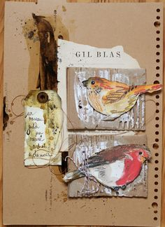"""**Mon scrap par Liliema** ~ art journal page featuring free printable of birds ... look for the link """"ici"""" to find them on another blog"""