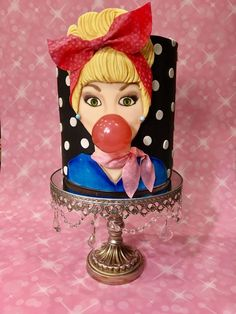 50's Girl 50's cake of a girl blowing a bubblegum bubble
