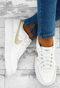 f5a5444d824a2d Nike Air Force 1 White and Gold Trainers Gold Nike Trainers