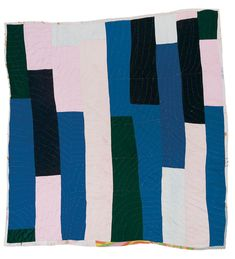 "Quilts of Gees Bend / Annie Mae Young, born 1928. ""Bars,"" ca. 1965. Corduroy, denim, polyester knit, assorted synthetics, 81 x 79."