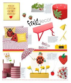 """""""Strawberries and Ladybugs'"""" by dianefantasy ❤ liked on Polyvore featuring interior, interiors, interior design, home, home decor, interior decorating, Serena & Lily, Potting Shed Creations, Thos. Baker and Rifle Paper Co"""